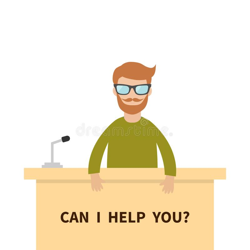 Can I help you. Men male people wearing eyeglasses. Table Information desk counter microphone. Reception service Info support. Cut. E cartoon character. Flat stock illustration