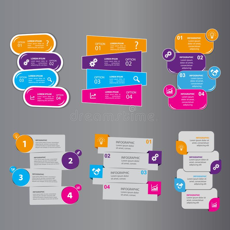 Four steps Info graphics. Can illustrate a strategy or team work vector illustration