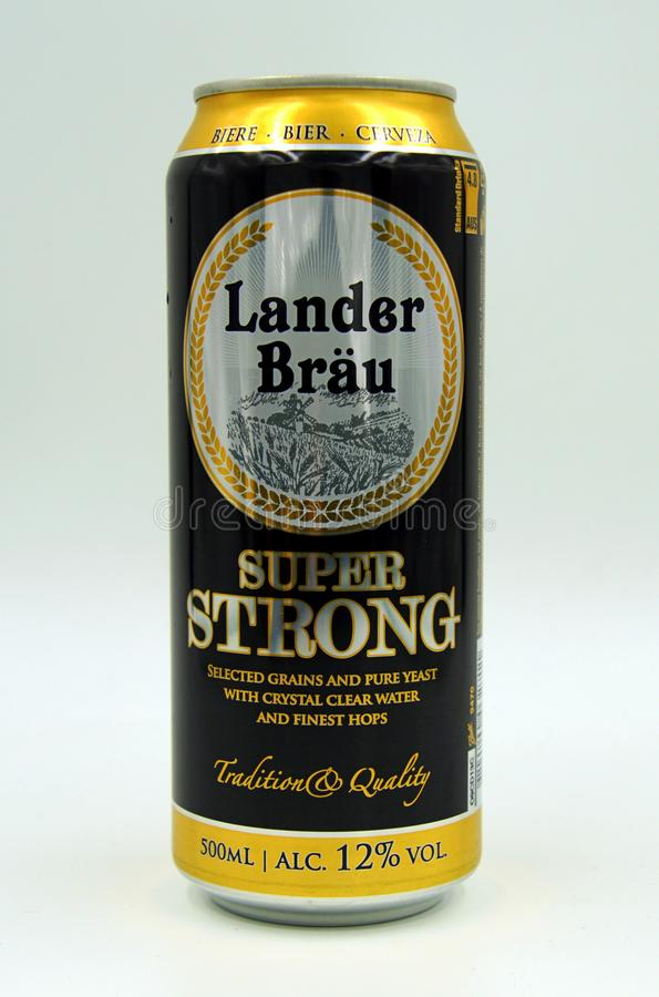 Can of Lander Bräu Super Strong beer. Amsterdam, the Netherlands - July 16, 2019: Can of Lander Bräu Super Strong beer against a white background royalty free stock photos