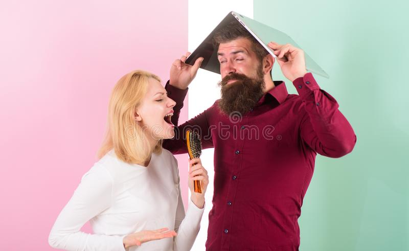 Can not stop song in her head. Better sing at talent show than at work. Lady imagine she superstar talented singer. Lady royalty free stock photo