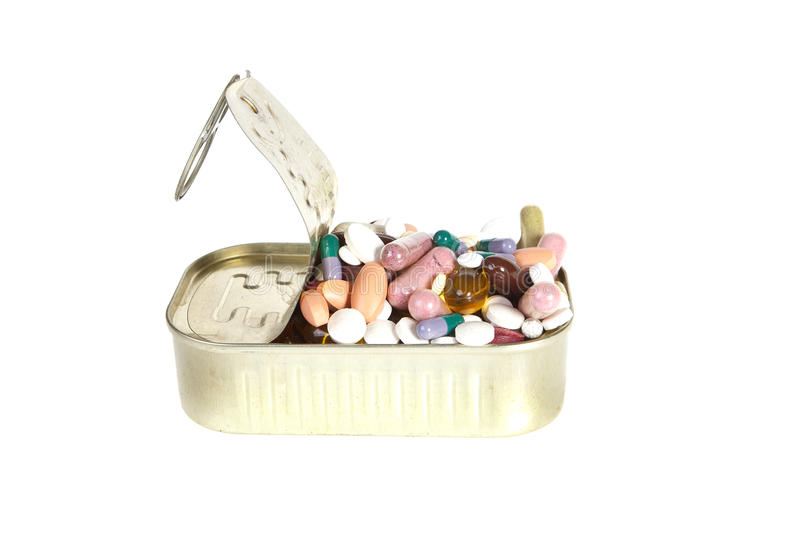 Can Of Pills Stock Photo