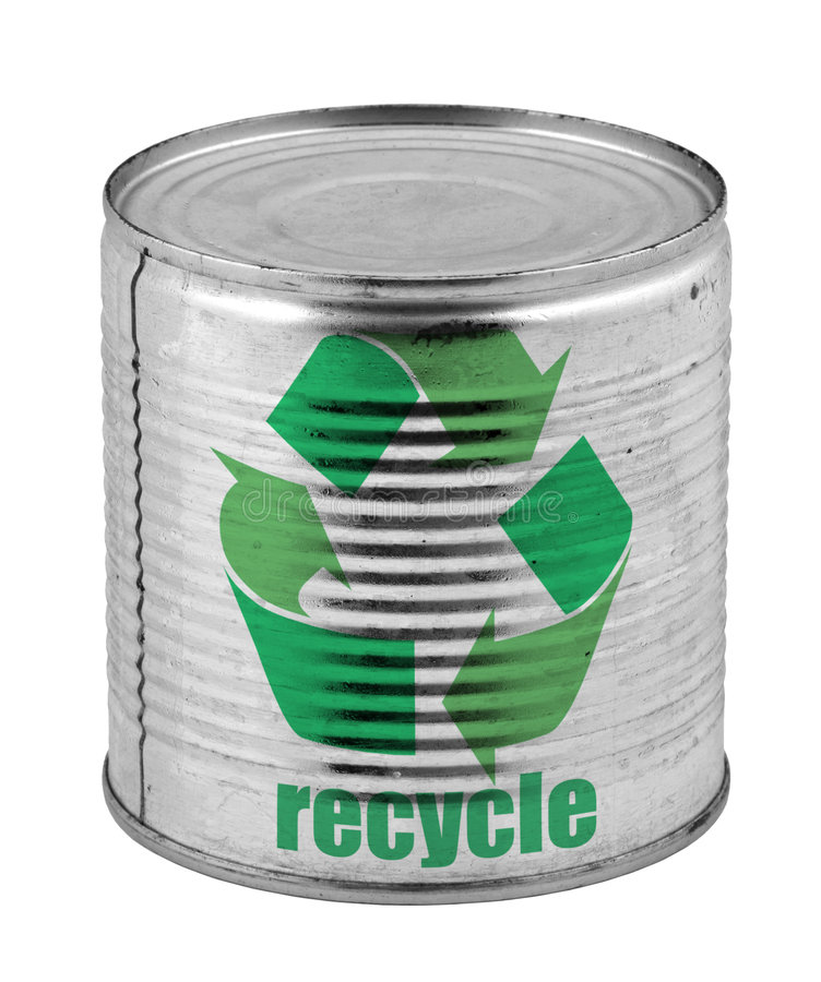 Can with recycle symbol. Food tin can with recycle symbol isolated on white background royalty free stock photo