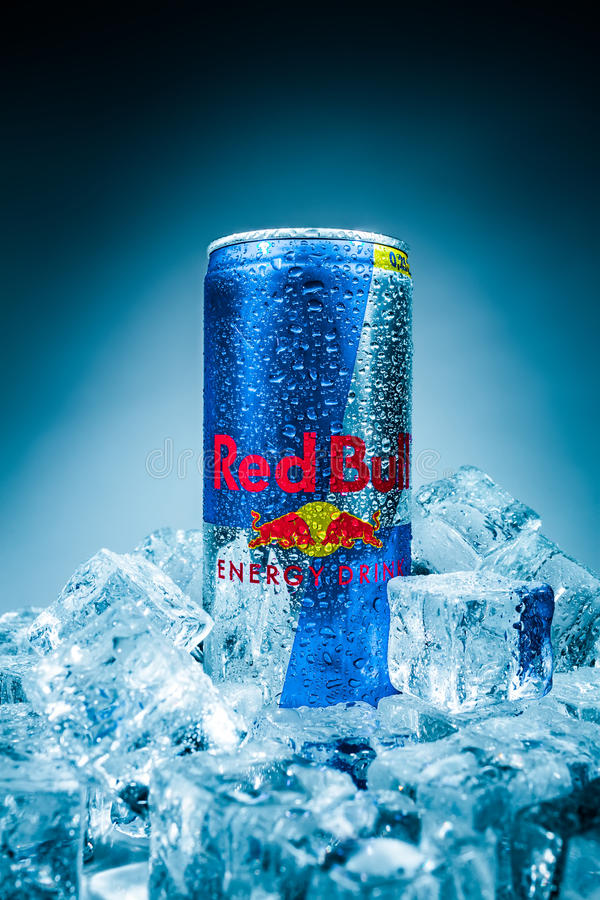 Can of Red Bull Energy Drink. MOSCOW, RUSSIA-APRIL 4, 2014: Can of Red Bull Energy Drink. In terms of market share, Red Bull is the most popular energy drink in royalty free stock image