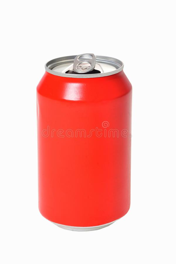 Can of red drink on white background. A can of red drink on white background royalty free stock photo