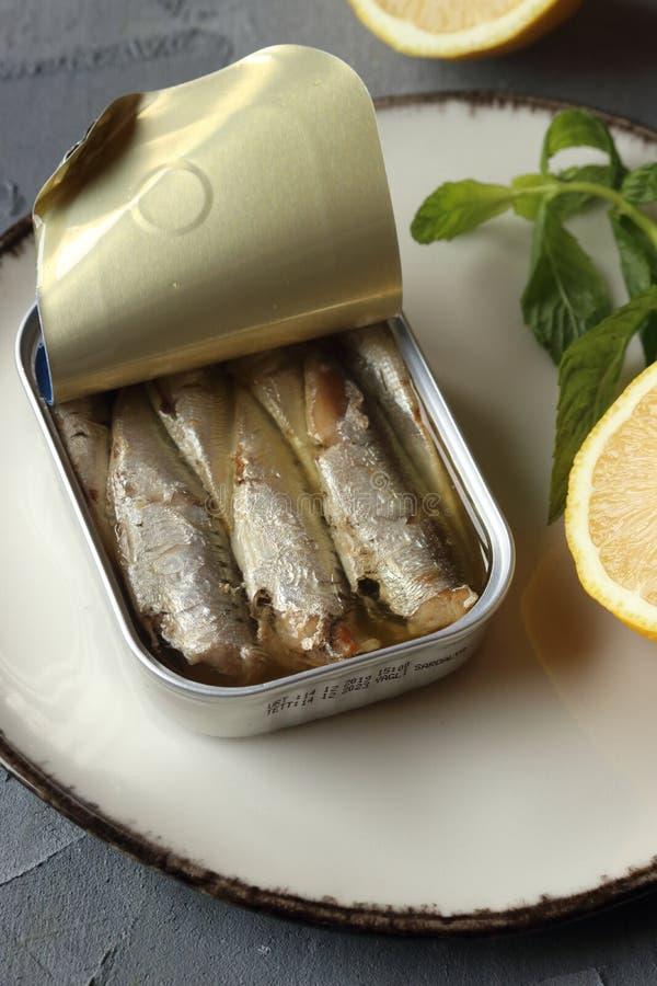 A can of sardine fish stock photos
