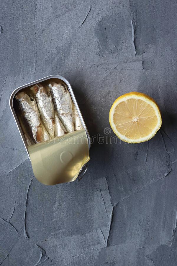 A can of sardine fish stock image