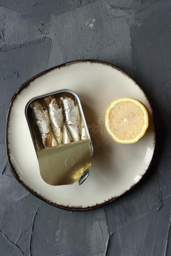 A can of sardine fish stock photo