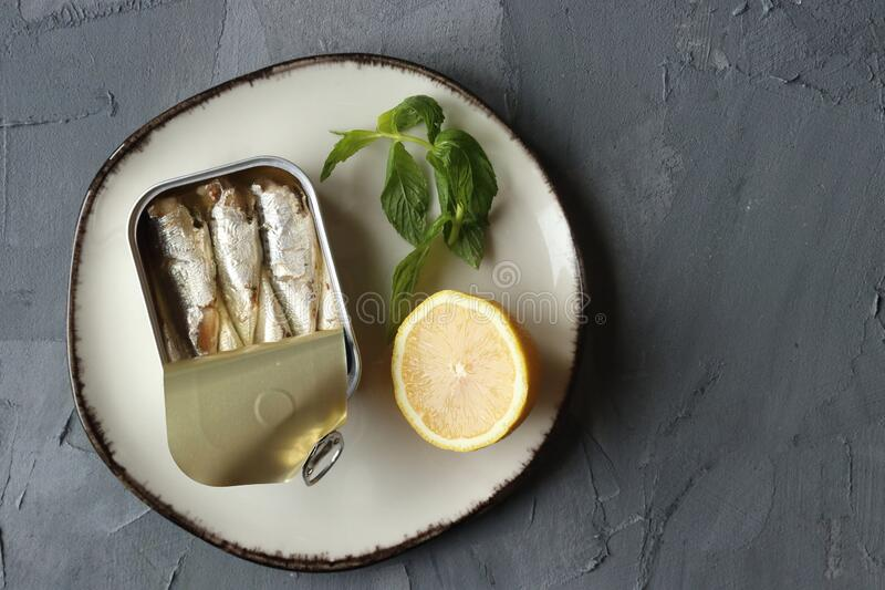 A can of sardine fish stock images