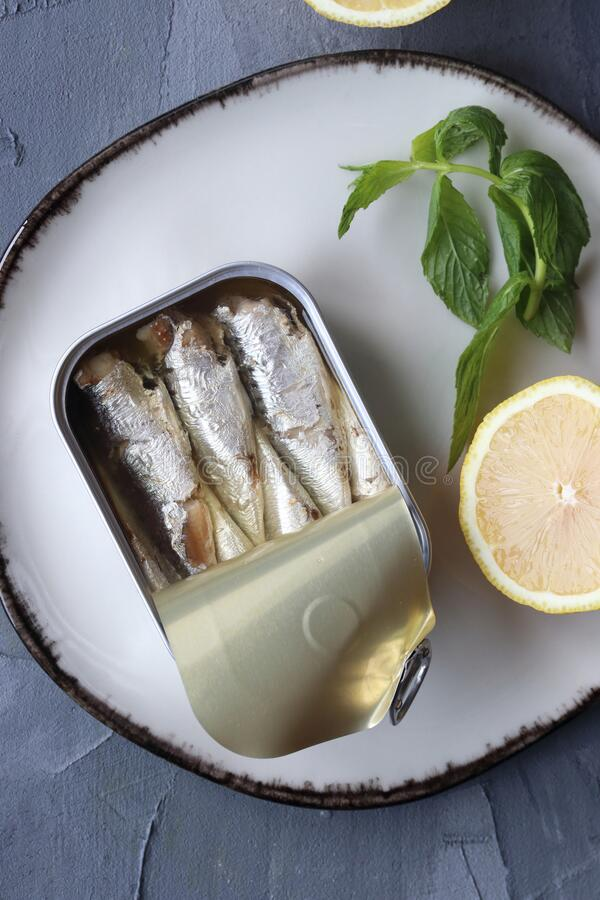 A can of sardine fish royalty free stock photo