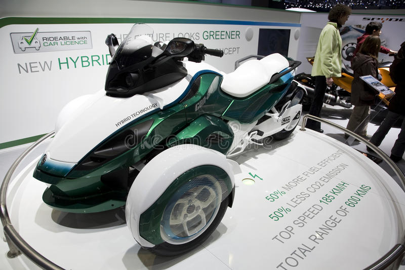 Can-Am Spyder Hybrid Roadster. Concept at the 2011 Geneva Motor Show. Photo taken on: March 04th, 2011 stock photo