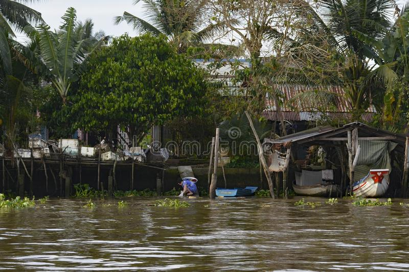 Buildings on Can Tho Waterway. Can Tho, Vietnam - December 31st 2017. A woman washes clothes in a waterway at the back of her house in the Mekong Delta royalty free stock photos