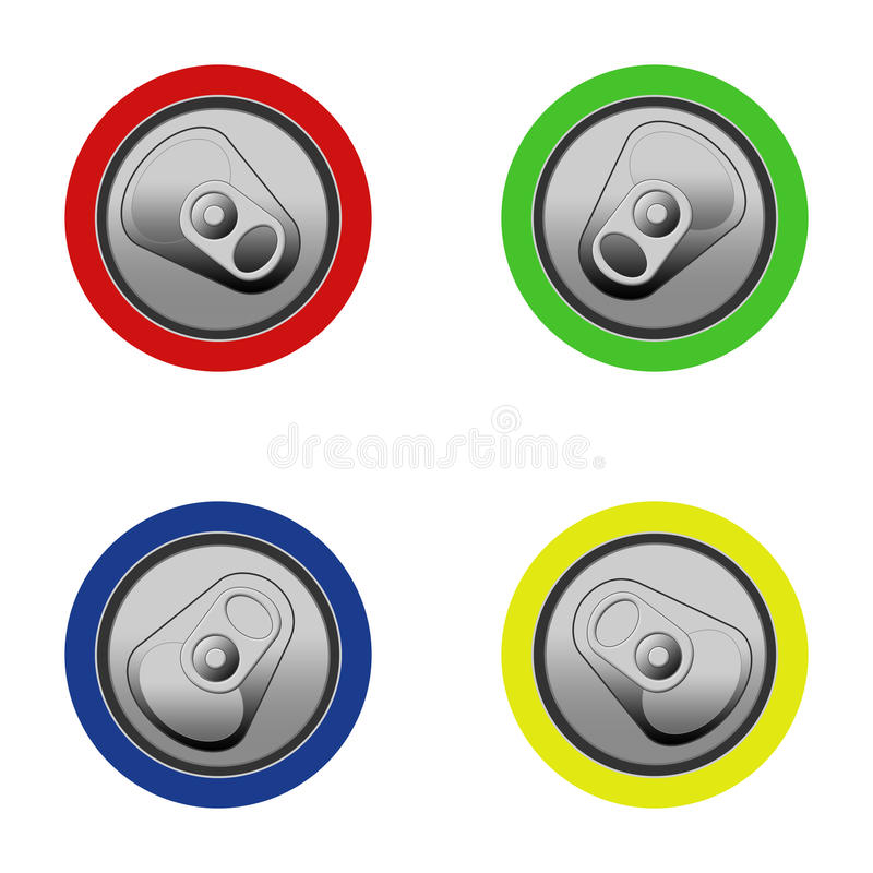 Can Tops. Four colored Cans from top illustration vector illustration