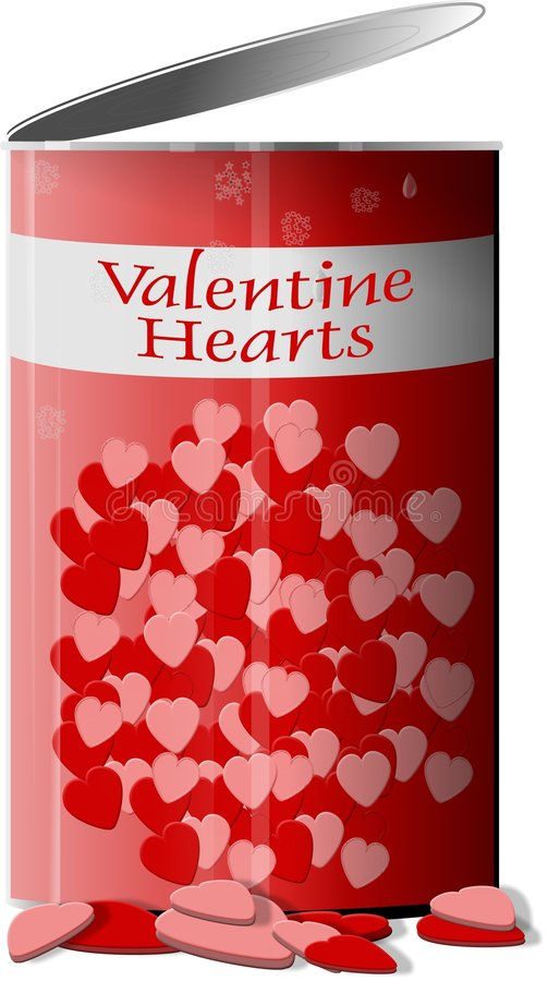 Can of Valentine hearts royalty free illustration