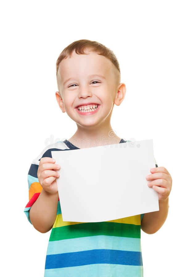 Can you help me?. Little boy on isolated white with blank paper royalty free stock images