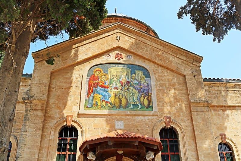 Cana东正教婚礼教会在内盖夫加利利的Cana 图库摄影