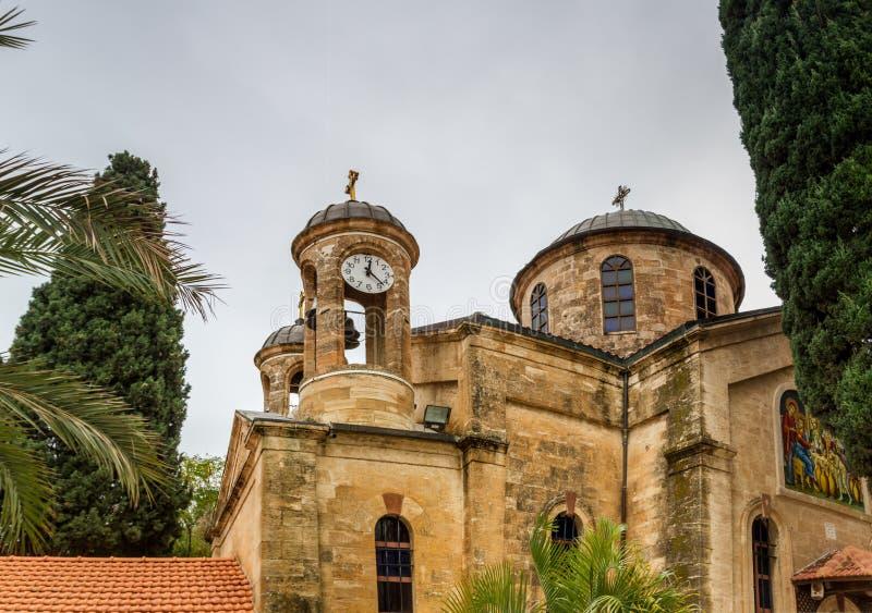 Cana东正教婚礼教会,以色列 库存图片