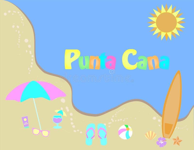 cana多米尼加共和国的punta共和国 夏天横幅,热带海滩设计 皇族释放例证