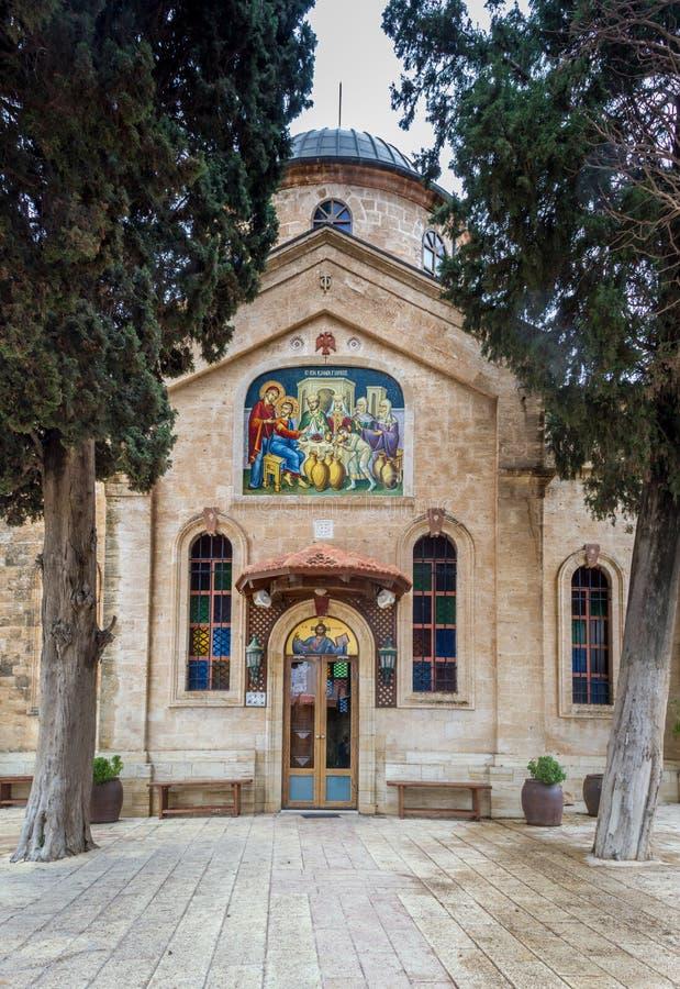 Cana den grekiska ortodoxa bröllopkyrkan, Israel royaltyfria foton