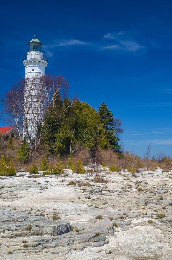 Cana Island Lighthouse. Beautiful Blue skies and Cana island lighthouse royalty free stock images