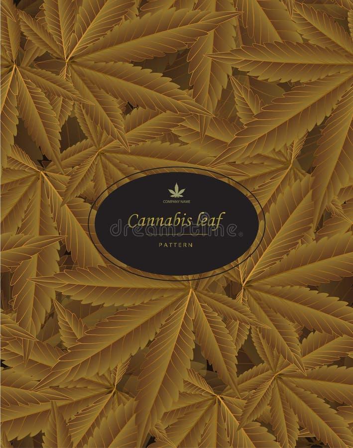 Canaabis o la marijuana deja el modelo en hoja de oro ilustración del vector
