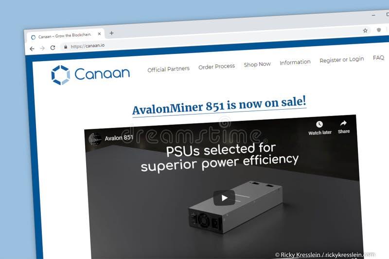 Canaan - kweek de homepage van de blockchainwebsite stock foto