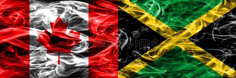 Canadá contra as bandeiras do fumo de Jamaica colocadas de lado a lado Canadense e ilustração stock