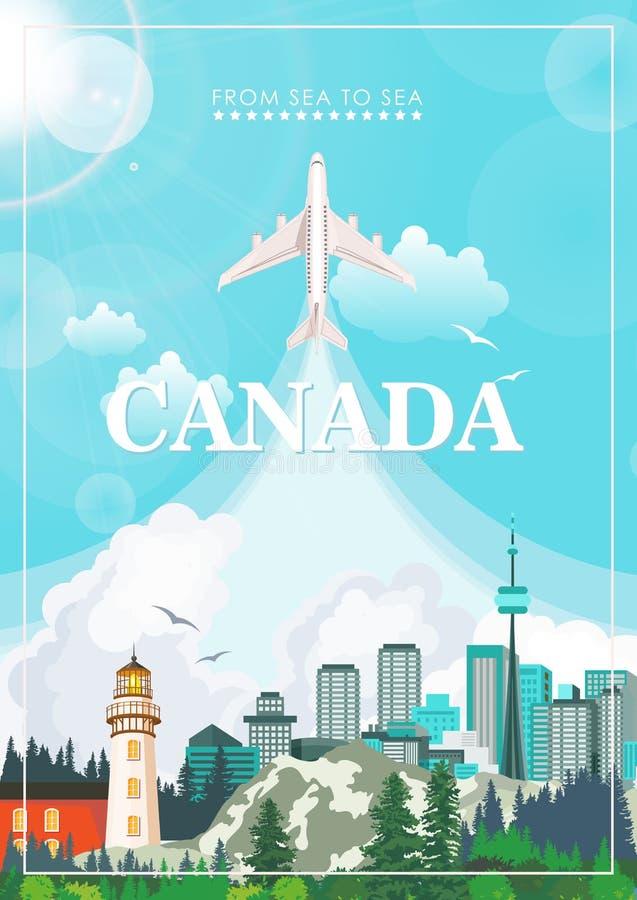 canadá Ejemplo canadiense del vector Postal del viaje ilustración del vector