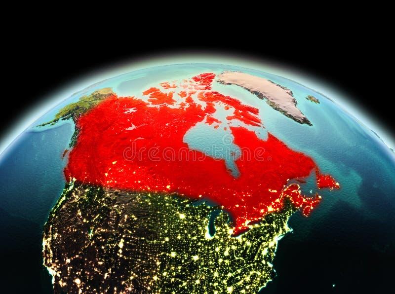 Canadá en la tierra del planeta en espacio ilustración del vector
