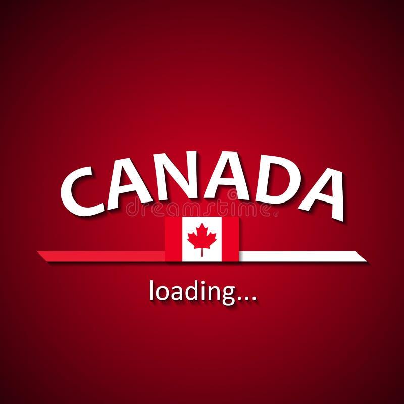 Canadá está carregando - molde canadense da barra de carga da inscrição da bandeira para agências de viagens e está comemorando a ilustração royalty free