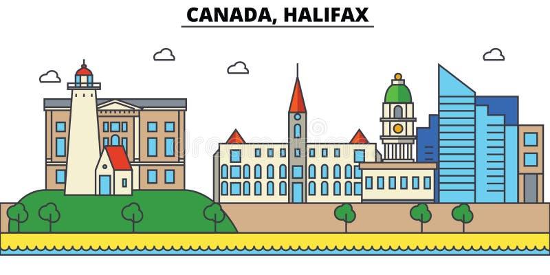 Canadá, Halifax Arquitetura da skyline da cidade editável ilustração royalty free