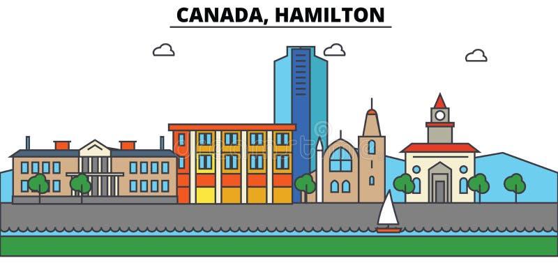 Canadá, Hamilton Arquitetura da skyline da cidade editable ilustração do vetor