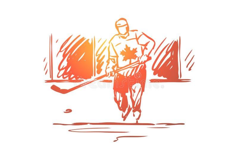 Canadá, hockey, símbolo, país, concepto del deporte Vector aislado dibujado mano stock de ilustración