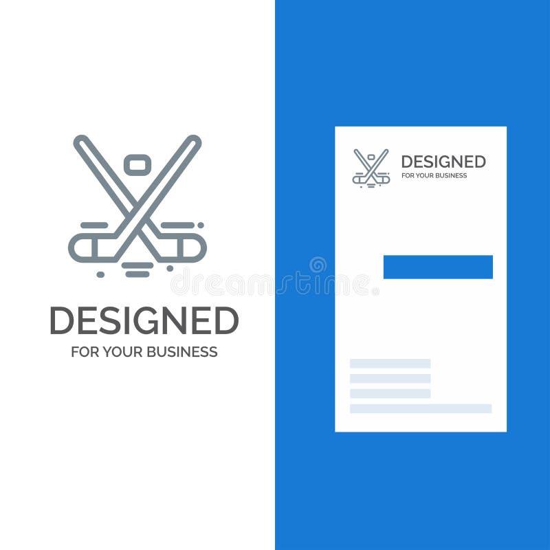 Canadá, juego, hockey, hielo, Olimpiadas Grey Logo Design y plantilla de la tarjeta de visita ilustración del vector