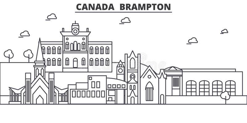 Canadá, línea ejemplo de la arquitectura de Brampton del horizonte Paisaje urbano linear con las señales famosas, vistas del vect stock de ilustración