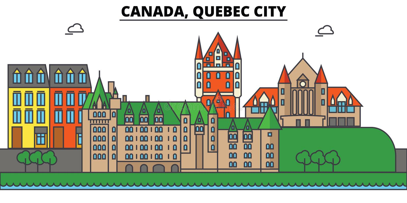 Canadá, la ciudad de Quebec Arquitectura del horizonte de la ciudad Editable ilustración del vector