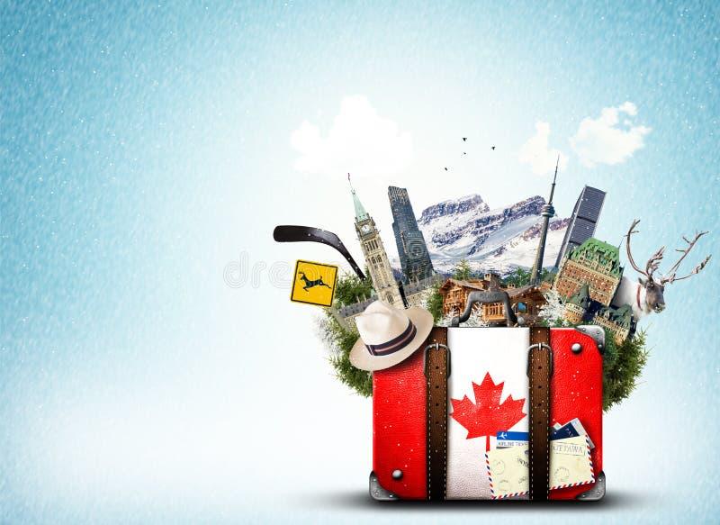 Canadá, mala de viagem retro ilustração royalty free