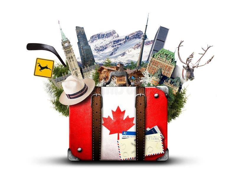 Canadá, mala de viagem retro imagens de stock