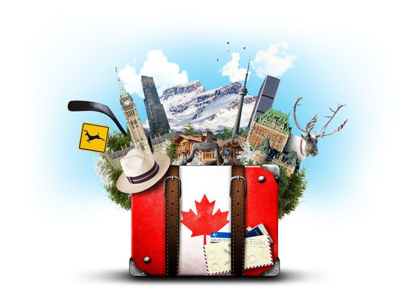 Canadá, mala de viagem retro imagem de stock royalty free