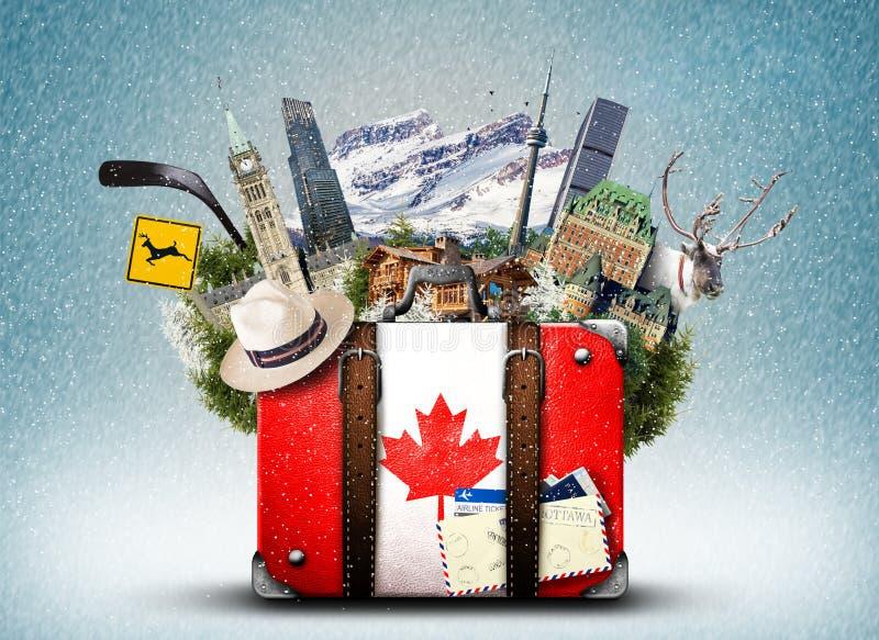 Canadá, mala de viagem retro foto de stock