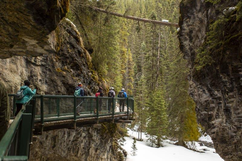 Canada, Alberta, Johnston Canyon, Banff National Park, Alberta. Bridge mountain stock photos