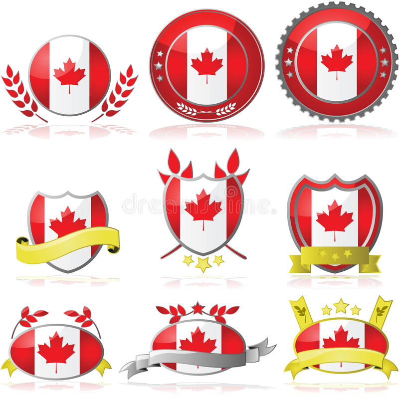 Download Canada badges stock vector. Illustration of bright, branch - 28267697