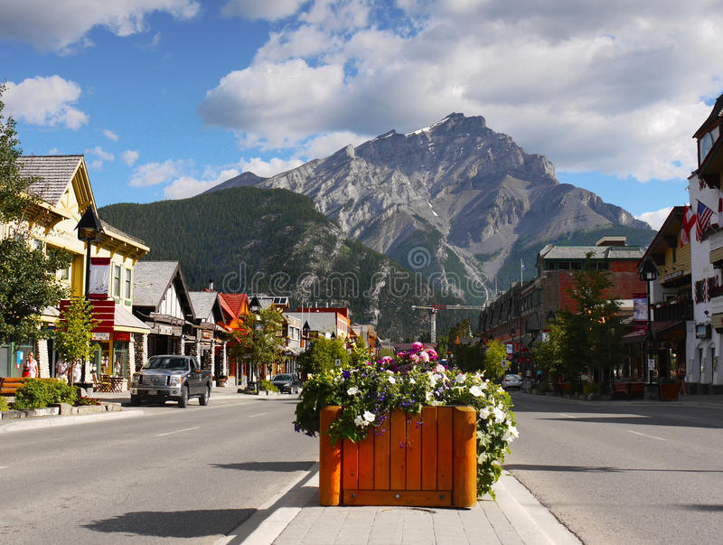 Canada, Banff-Stad, Nationaal Park stock afbeelding