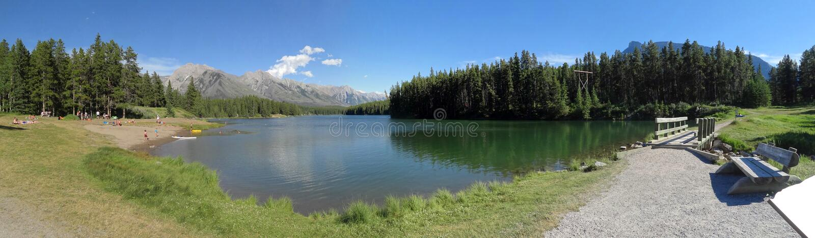 A sunny day at Two Jack Lake stock photos