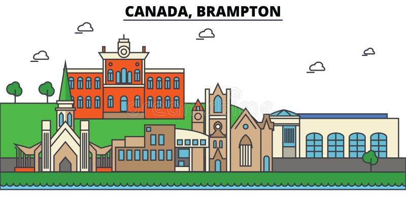 Canada, Brampton De architectuur Editable van de stadshorizon royalty-vrije illustratie