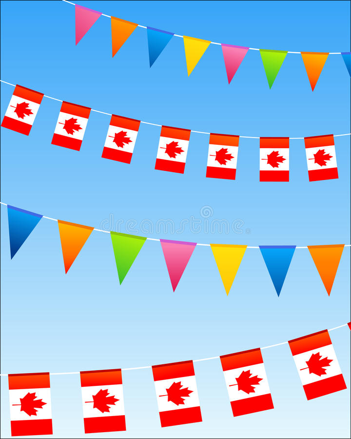 Canada bunting flags. On a blue sky. Vector illustration royalty free illustration