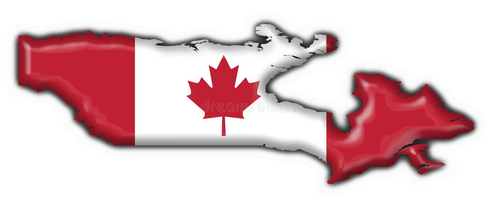 Canada button map flag. Canada button flag - 3d made stock illustration