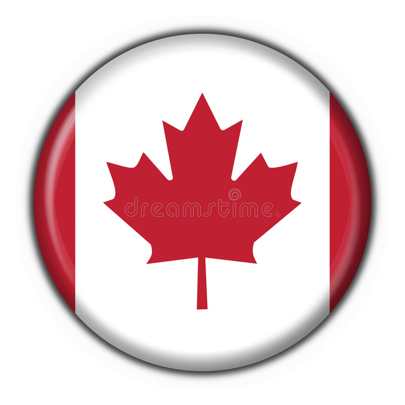 Canada button round flag stock illustration
