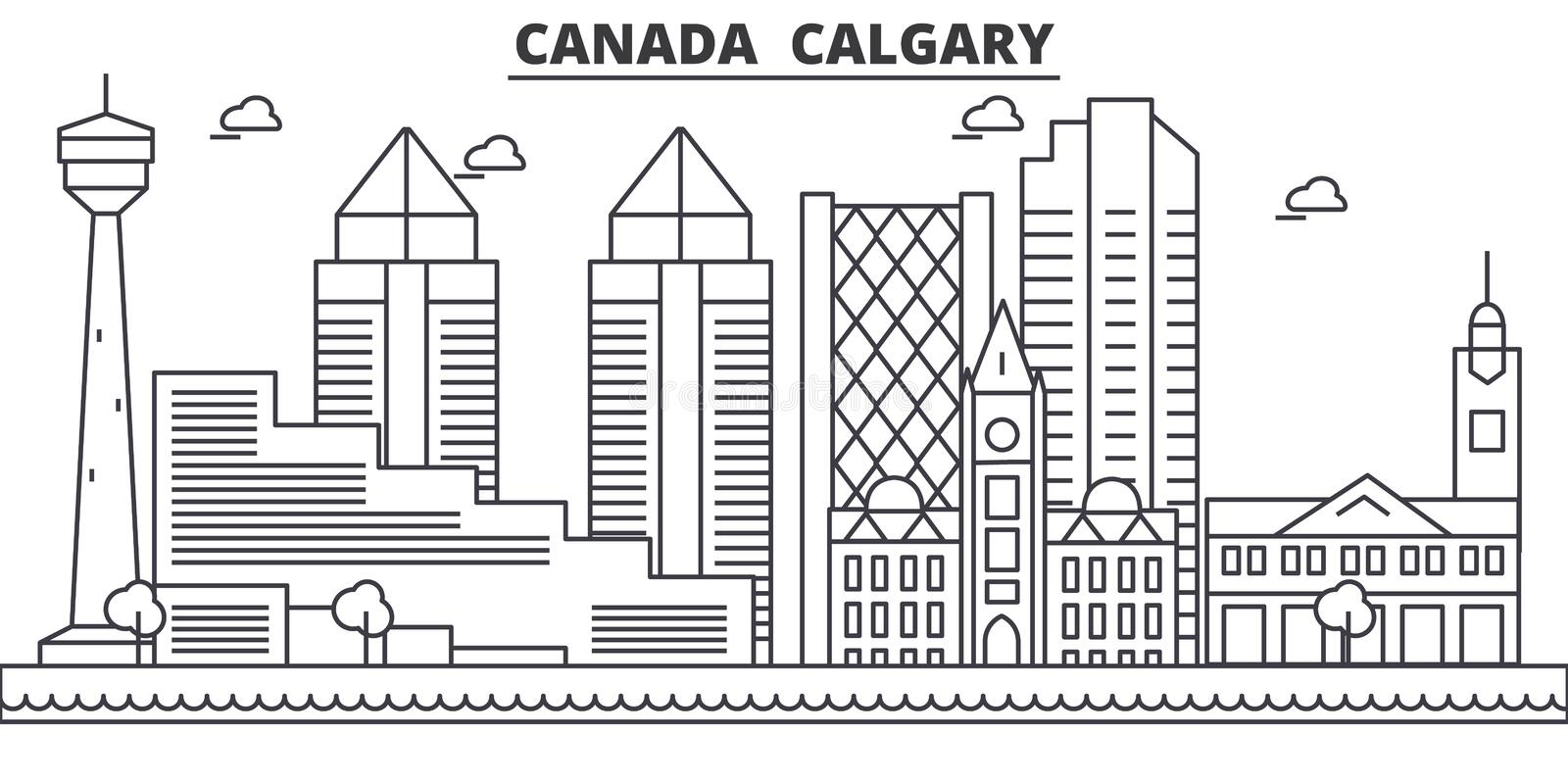 Canada, Calgary architecture line skyline illustration. Linear vector cityscape with famous landmarks, city sights. Design icons. Editable strokes stock illustration