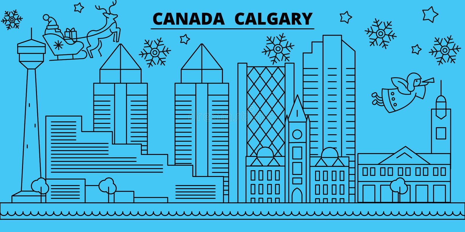 Canada, Calgary winter holidays skyline. Merry Christmas, Happy New Year decorated banner with Santa Claus.Canada. Canada, Calgary winter holidays skyline. Merry stock illustration