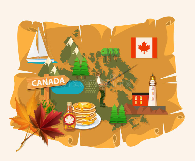 Canada. Canadian vector illustration with map. Vintage style. Travel postcard. Canada. Canadian vector illustration with map. Travel postcard. Colorful banner vector illustration